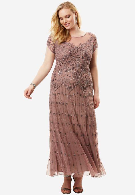 b17ba57c457 lllusion Beaded Mesh Dress by Pisarro Nights