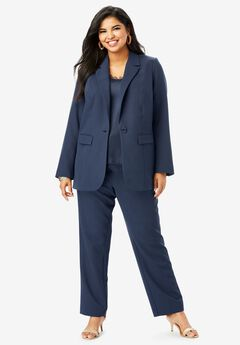 Straight-Leg Pantsuit with Blazer, NAVY