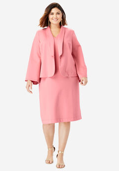 Ultimate Ponte Jacket Dress with Bell Sleeves, CORAL BLUSH