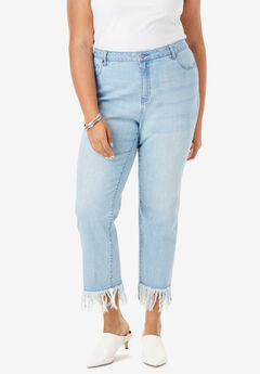 Fringe-Hem Jean by Denim 24/7®,
