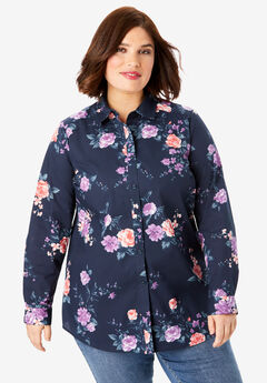 Long-Sleeve Kate Shirt, NAVY MIXED FLOWERS