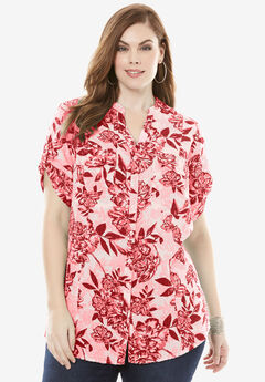 Seersucker Shirt with Tab Sleeves, CORAL FLORAL PRINT, hi-res