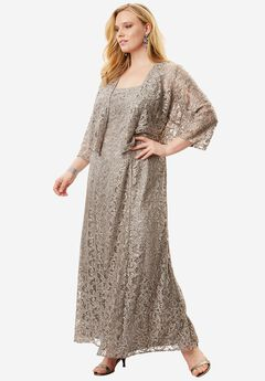 Fit-And-Flare Lace Jacket Dress by Alex Evenings, PEWTER FROST, hi-res