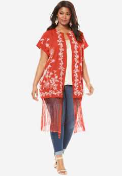 Embroidered Fringe Kimono Jacket, FLAME RED, hi-res