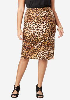 Ultimate Ponte Pencil Skirt, NATURAL ANIMAL PRINT