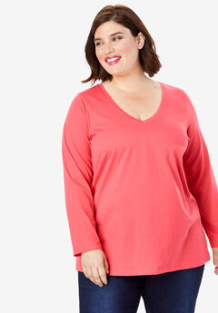 Long-Sleeve V-Neck Ultimate Tee, VIVID RED