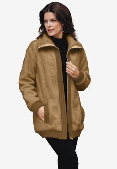 Textured Fleece Bomber Coat, SOFT CAMEL