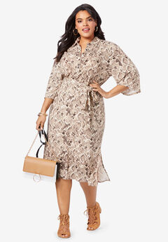 Belted Shirtdress with Pockets, BROWN SNAKE