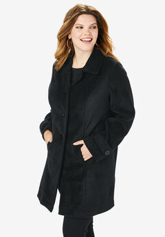 Plush Fleece Jacket, BLACK