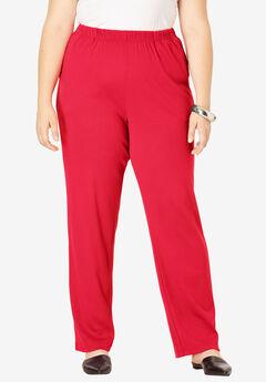 Soft Knit Straight-Leg Pant, VIVID RED