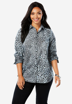 The Kate Shirt, GREY ANIMAL PRINT