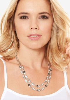 Double-Layered Studded Necklace, SILVER, hi-res
