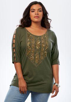 Embellished Lattice Sleeve Top, DEEP OLIVE EMBELLISHMENTS