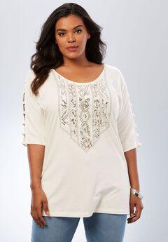 Embellished Lattice Sleeve Top,