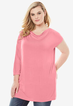 Asymmetrical Tunic with Dolman Sleeves, FLAMINGO PINK, hi-res