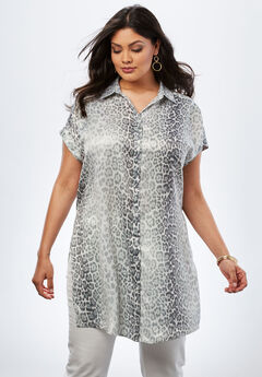 Button-Front Super Tunic, GREY FADED ANIMAL, hi-res