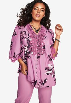 Print Lace Shirt, MAUVE ORCHID PRINT, hi-res