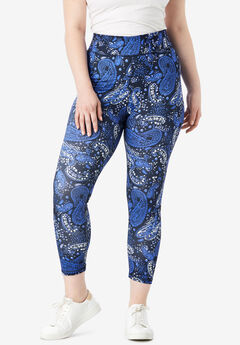 Capri Performance Legging with Wide Waistband, NAVY WATERCOLOR PAISLEY