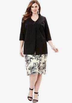 Dot Print Jacket Dress, IVORY BLACK PAISLEY PRINT, hi-res