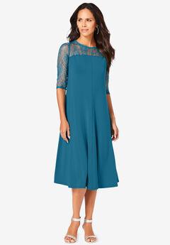 Ultrasmooth® Fabric Illusion Lace Swing Dress,