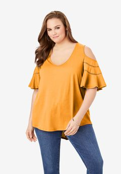 Ruffle-Sleeve Top with Cold Shoulder Detail,