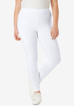 Ankle-Length Stretch Legging, WHITE