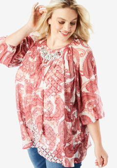 Embellished Print Top with Three-Quarter Sleeves, CORAL LAYERED PAISLEY