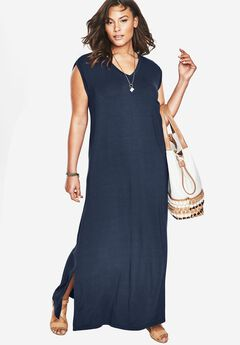 Side Slit T-Shirt Dress by Denim 24/7, NAVY, hi-res