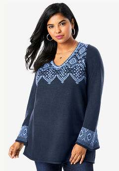 Fit-And-Flare Tunic Sweater, NAVY FRENCH BLUE FAIR ISLE