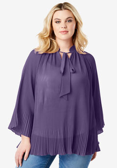 Bell Sleeve Bow Blouse, PLUM