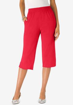 Soft Knit Capri Pant, VIVID RED
