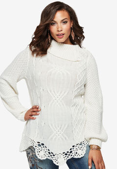Cable Sweater by Denim 24/7®, IVORY, hi-res