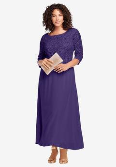 Lace Popover Dress, MIDNIGHT VIOLET