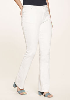 5-Pocket Bootcut Jeans with Invisible Stretch® by Denim 24/7®, WHITE DENIM, hi-res