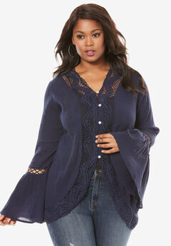 Crochet Bell Sleeve Tunic, NAVY, hi-res