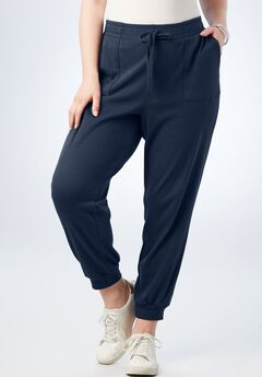 Crop Soft Knit Jogger, NAVY