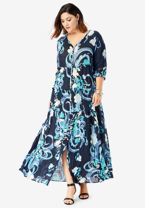 Tiered Crinkle Maxi Dress with Blouson Sleeves