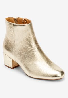 The Sidney Bootie by Comfortview®, GOLD CROCO