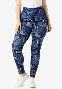 Performance Legging with Wide Waistband, NAVY WATERCOLOR PAISLEY