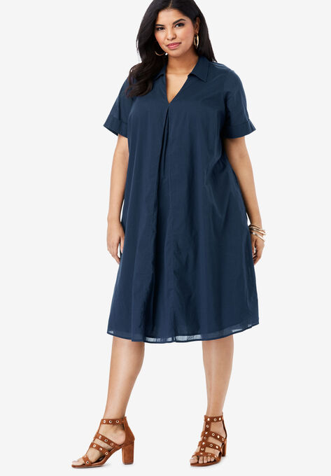 Collared Swing Dress| Plus Size Casual Dresses | Roaman\'s