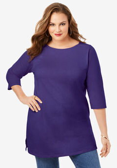 Boatneck Ultimate Tunic with Side Slits, MIDNIGHT VIOLET