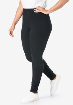 Ruched Leggings, BLACK, hi-res