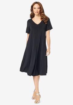 Ultrasmooth® V-Neck Swing Dress, BLACK