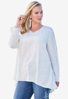 Embroidered V-Neck Trapeze Tunic, IVORY, hi-res