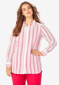 Georgette Big Shirt, WHITE DOUBLE STRIPE