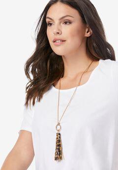 Animal-Print Tassel Necklace,