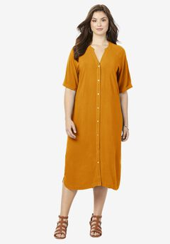 Y-Neck Shirtdress,