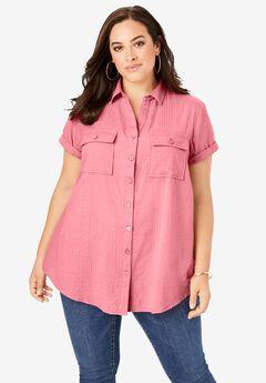 Seersucker Big Shirt, SALMON ROSE