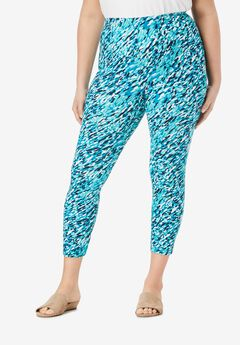 Essential Stretch Capri Legging, TURQUOISE FLOWY ABSTRACT