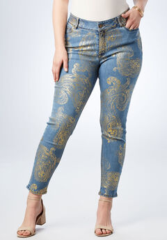 Foil Print Jean with Invisible Stretch® by Denim 24/7®, GOLD EXPLODED PAISLEY, hi-res